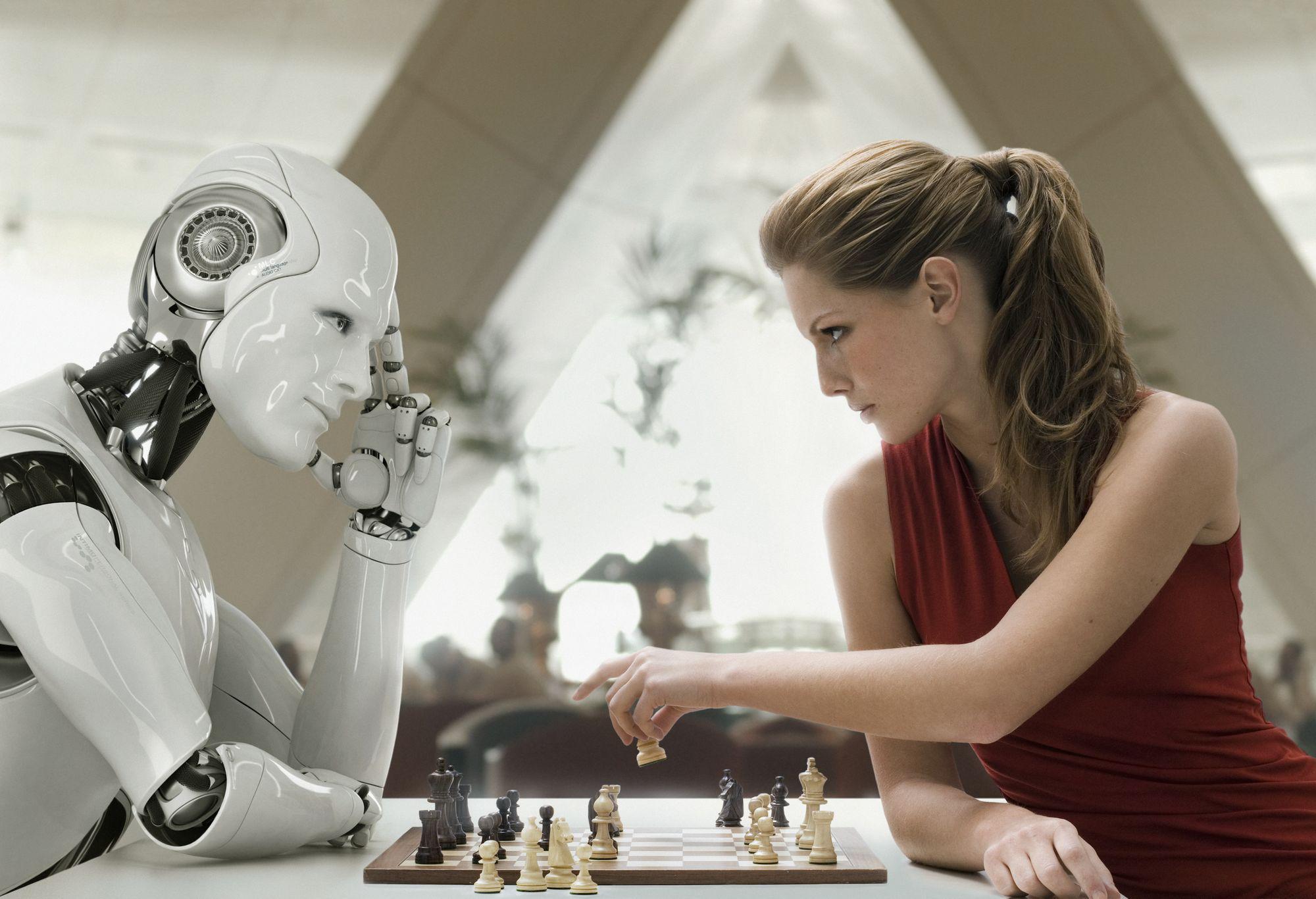 Schaakpartij met robot